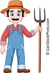 Cartoon farmer holding a pitchfork