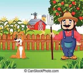 Cartoon farmer holding a rake with - Vector illustration of ...