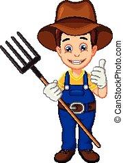 cartoon farmer thumb up