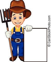 cartoon farmer with blank board
