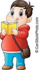 Cartoon fat boy in sweater reading a book