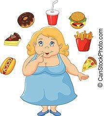 Cartoon fat women a think food