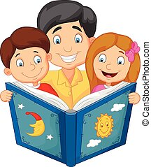 Cartoon father reading with his chi - Vector illustration of...