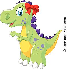 Cartoon female dinosaur isolated