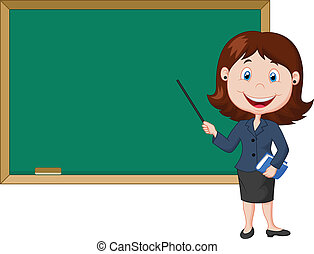 Vector illustration of Cartoon female teacher standing next to a blackboard