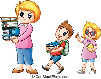 Cartoon female with school boy carrying with a stack of books