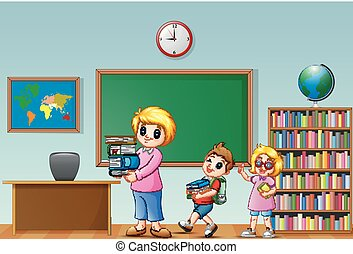 Cartoon female with school kids in a classroom