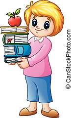 Cartoon female with stack books and apple