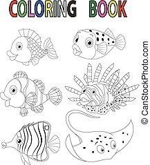 Cartoon fish coloring book