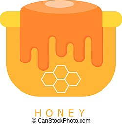 Vector illustration of cartoon flat pot of honey