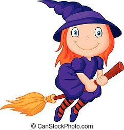 Cartoon flying wizard