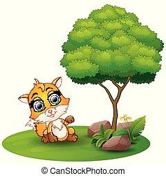 Cartoon fox under a tree on a white background