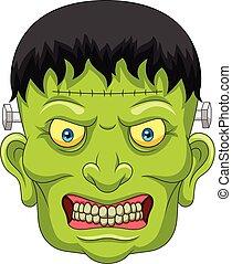 Cartoon Frankenstein head isolated on white background