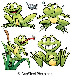 Frog - Vector illustration of Cartoon Frog Character Set