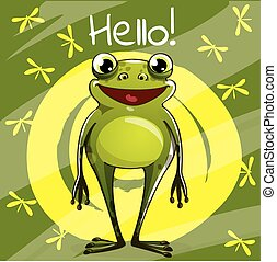 Vector illustration of cartoon frog. Hello.