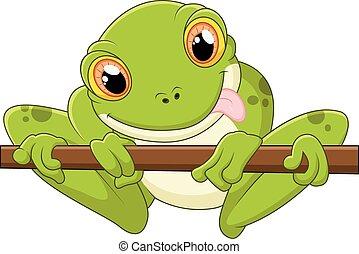Cartoon frog holding tree - vector illustration of Cartoon...