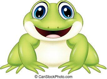 Cartoon frog isolated on white background