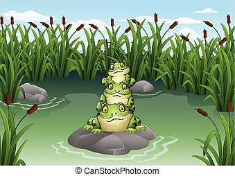 Cartoon frog stacked in the pond