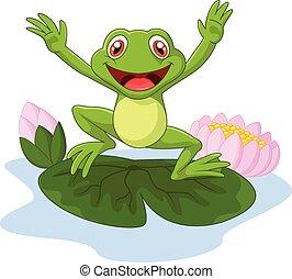 Cartoon frog waving