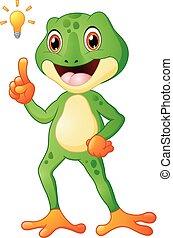 Cartoon frog with thinking a new idea
