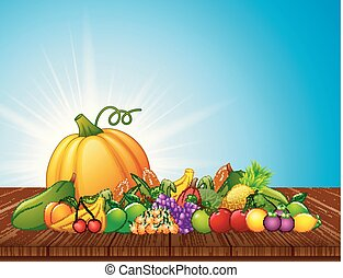 Cartoon fruits and vegetables on wooden table