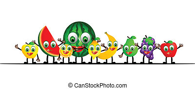 vector illustration of cartoon frui