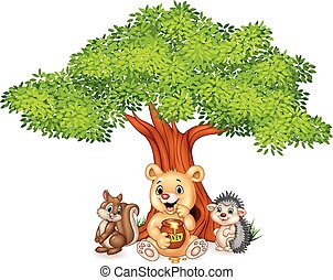 Cartoon funny animal on the tree