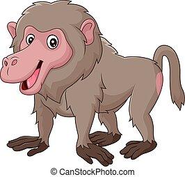 Cartoon funny baboon isolated