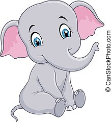 Cartoon funny baby elephant sitting