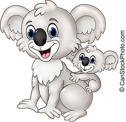 Cartoon funny baby Koala on Mother - Vector illustration of...