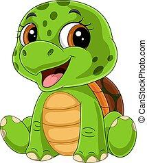 Cartoon funny baby turtle sitting