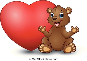 Cartoon funny bear sitting with a big heart