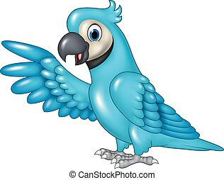 Cartoon funny blue macaw presenting - Vector illustration of...
