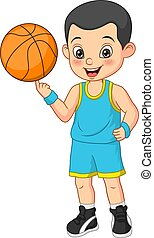 Cartoon funny boy basketball player