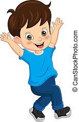 Cartoon funny boy raised his hand