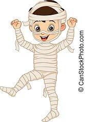 Cartoon funny boy wearing in mummy costume