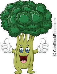 Cartoon funny broccoli giving thumb