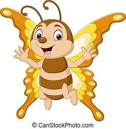 Cartoon funny butterfly isolated on white background