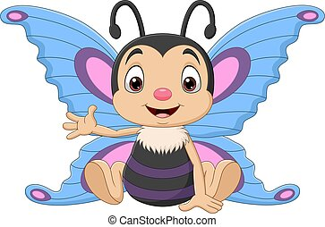 Cartoon funny butterfly sitting and waving