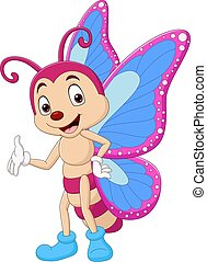 Cartoon funny butterfly waving hand