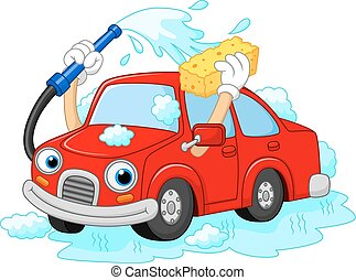 Cartoon funny car washing with wate - Vector illustration of...