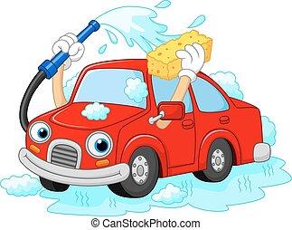 Cartoon funny car washing with wate