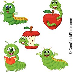 Cartoon funny Caterpillar collection set