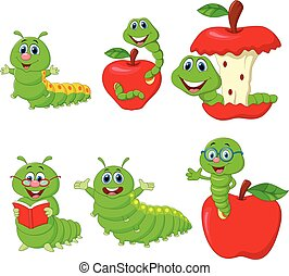 Vector illustration of Cartoon funny Caterpillar collection set