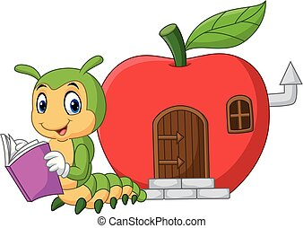 Cartoon funny caterpillar reading book