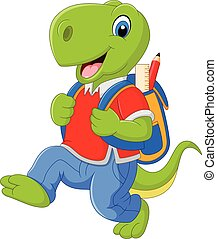 Cartoon funny dinosaur with backpack