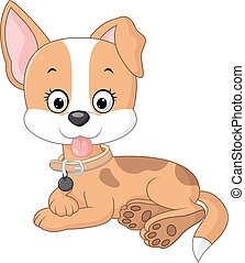 Cartoon funny dog lay down - Vector illustration of Cartoon...