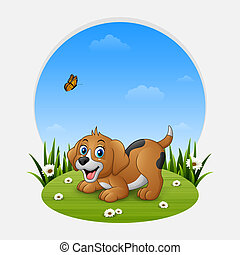 Cartoon funny dog on the grass
