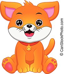 Cartoon funny dog on white background