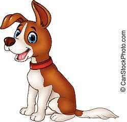 Cartoon funny dog sitting isolated